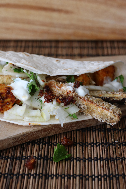 Fajita met kip, aubergine en venkel