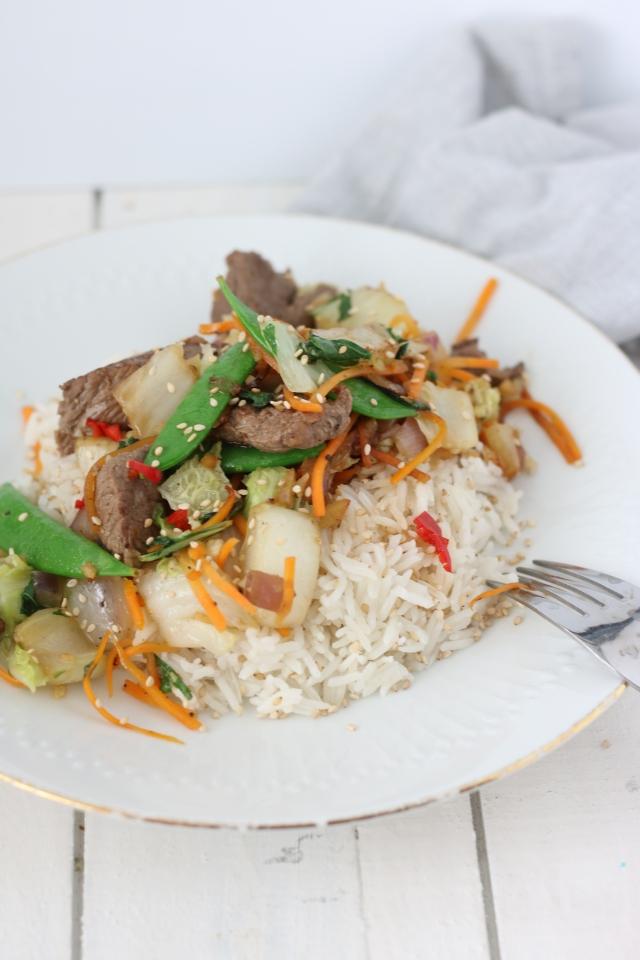 biefstuk met basmati rijst