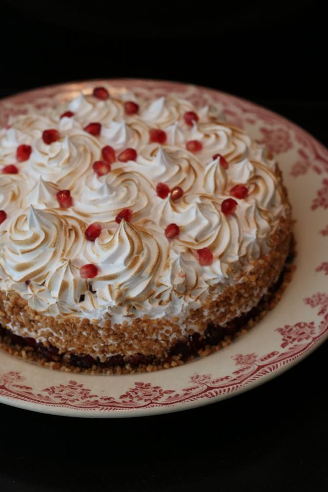 yoghurtcake met cranberries en granaatappel