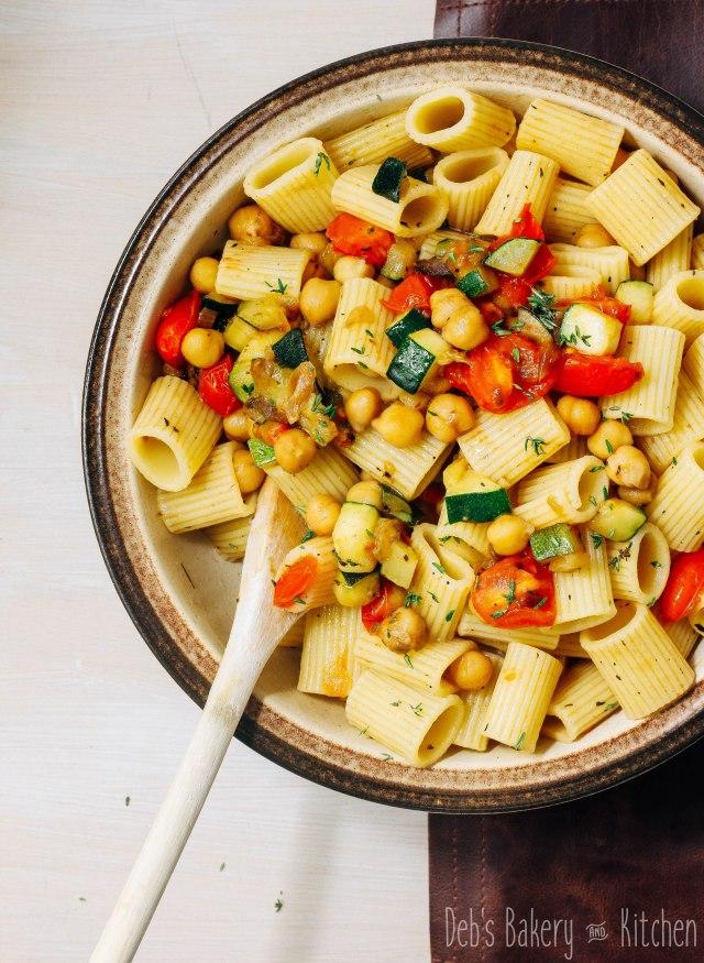 pasta courgette kikkererwten
